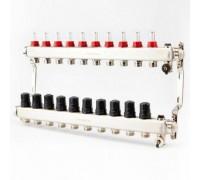 Коллектор для теплого пола с расходомерами BRASSMEN на 10 выходов.арт.F010-2014
