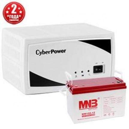 Комплект Cyber Power SMP350EI (инвертор+АКБ 100 А/ч+провода)